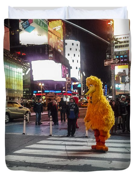 Big Bird On Times Square Duvet Cover