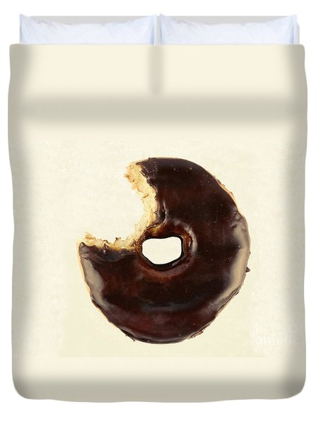 Duvet Cover featuring the photograph Chocolate Donut With Missing Bite by Vizual Studio