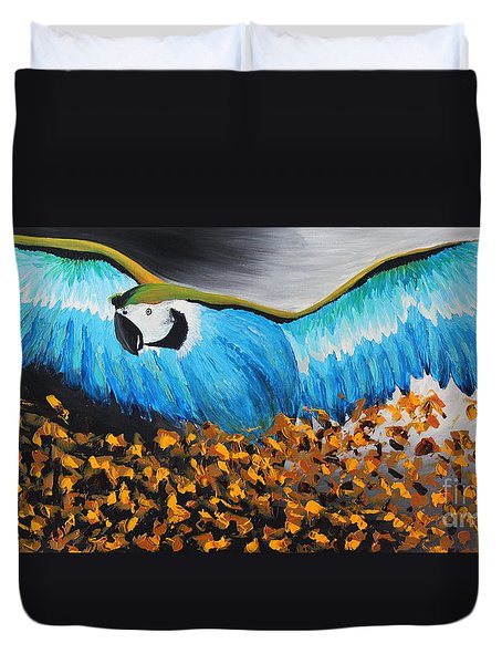 Big Blue Bird Duvet Cover