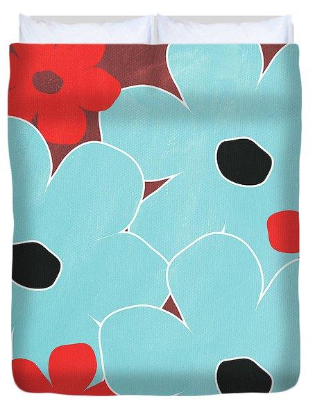 Big Blue Flowers Duvet Cover