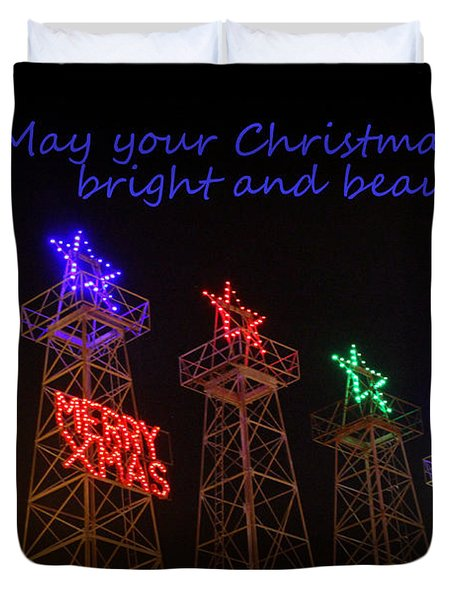 Big Bright Christmas Greeting  Duvet Cover
