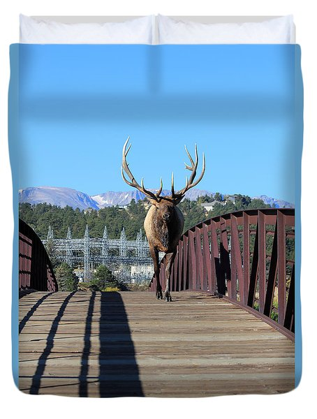 Big Bull On The Bridge Duvet Cover