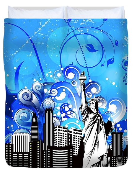 Big City Blues 4 Liberty Duvet Cover by Stanley Mathis