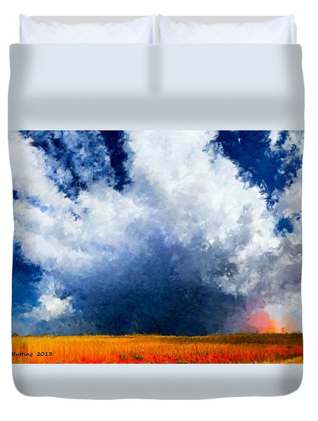 Duvet Cover featuring the painting Big Cloud In A Field by Bruce Nutting