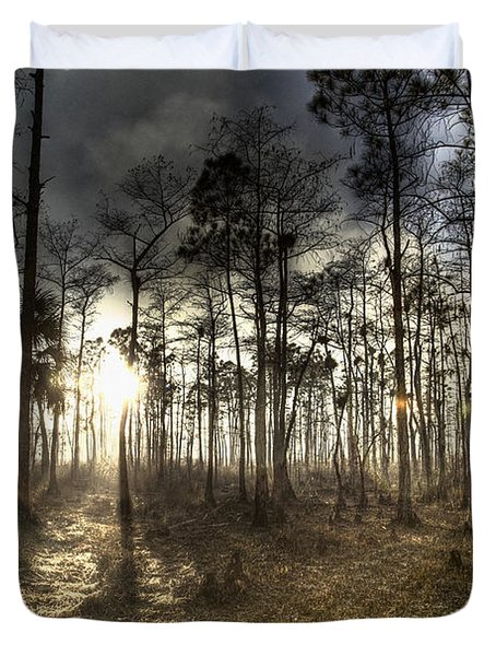 Big Cypress Fire At Sunset Duvet Cover by Bradley R Youngberg