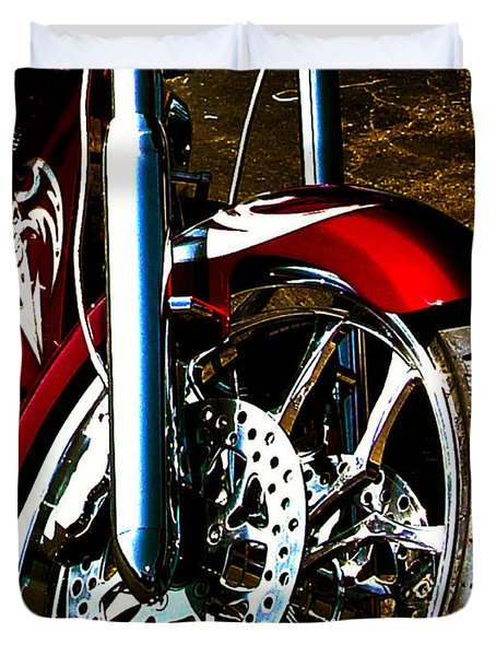 Big Dog Motorcycle Chrome Tire Duvet Cover