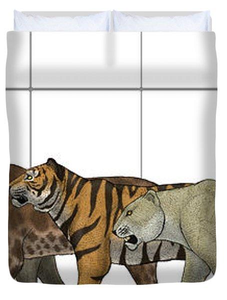 Big Felines Size Chart Duvet Cover by Vitor Silva