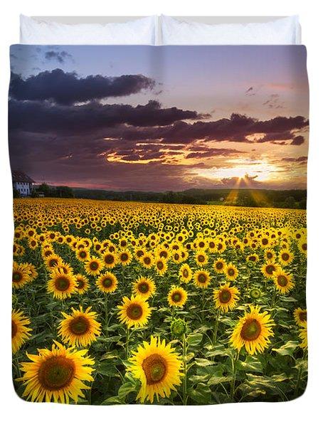 Big Field Of Sunflowers Duvet Cover by Debra and Dave Vanderlaan