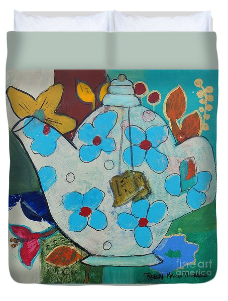 Big Floral Tea Pot Duvet Cover