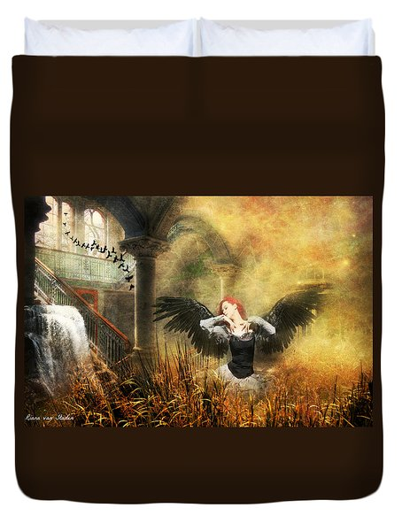 Duvet Cover featuring the digital art Big Girls Cry  by Riana Van Staden