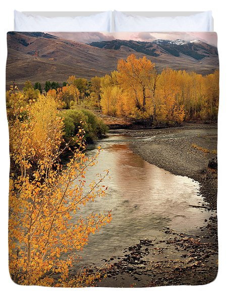 Big Lost River In Autumn Duvet Cover by Leland D Howard