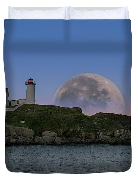 Big Moon Over Nubble Lighthouse Duvet Cover