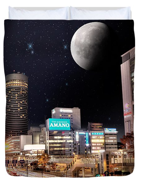 Big Moon Yokohama Duvet Cover