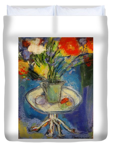 Big Red Flowers In A Pale Green Vase  Duvet Cover by Tolere