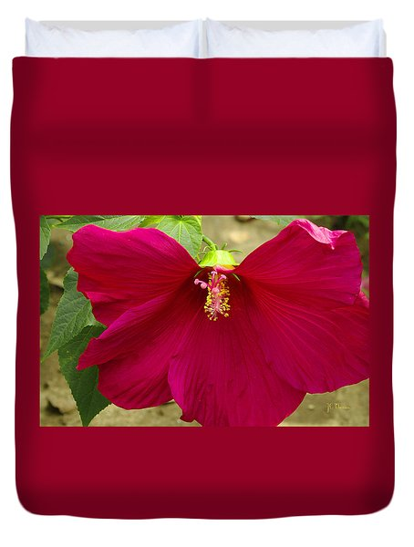 Duvet Cover featuring the photograph Big Red Hibiscus Bloom by James C Thomas