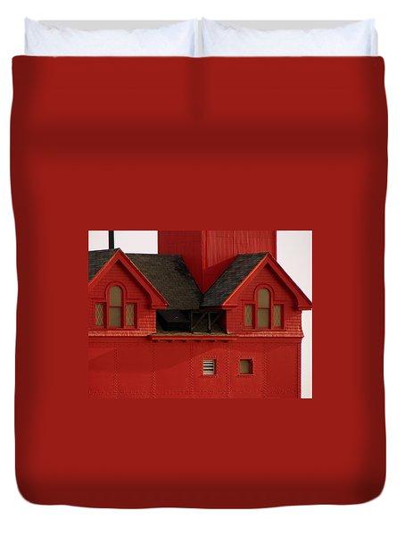 Big Red Holland Harbor Light Michigan Duvet Cover