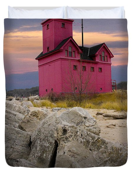 Big Red Lighthouse By Holland Michigan Duvet Cover by Randall Nyhof