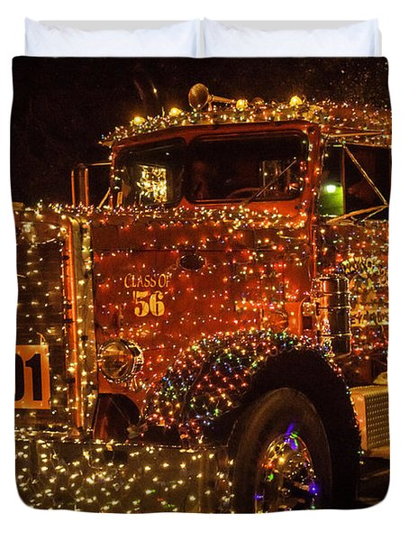 Big Rig With Christmas Lights Duvet Cover