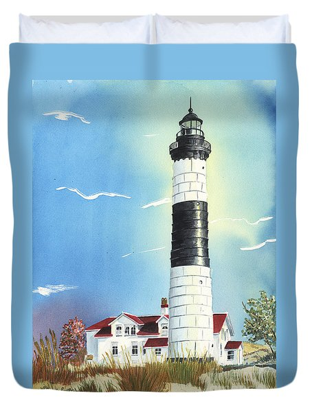 Duvet Cover featuring the painting Big Sable Lighthouse by LeAnne Sowa