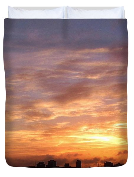 Big Sky Over Halifax Harbour Duvet Cover by John Malone