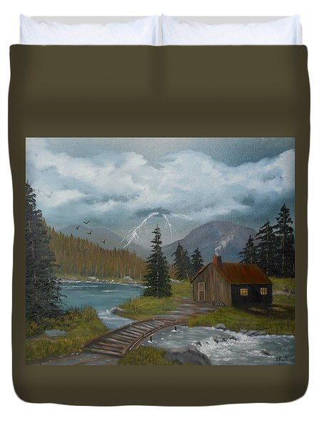 Duvet Cover featuring the painting Big Storms A Comin' by Sheri Keith