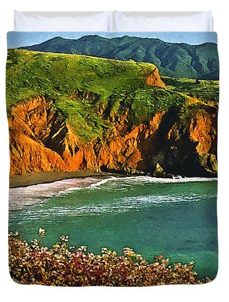Big Sur California Coastline Duvet Cover by Bob and Nadine Johnston