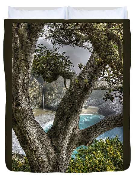 Big Sur Mc Way Falls At Julia Pfeiffer State Park-1 Central California Coast Spring Early Afternoon Duvet Cover by Michael Mazaika