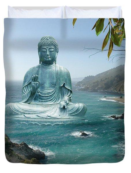 Big Sur Tea Garden Buddha Duvet Cover by Alixandra Mullins