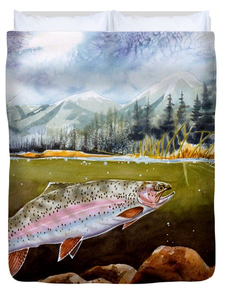 Duvet Cover featuring the painting Big Thompson Trout by Craig T Burgwardt