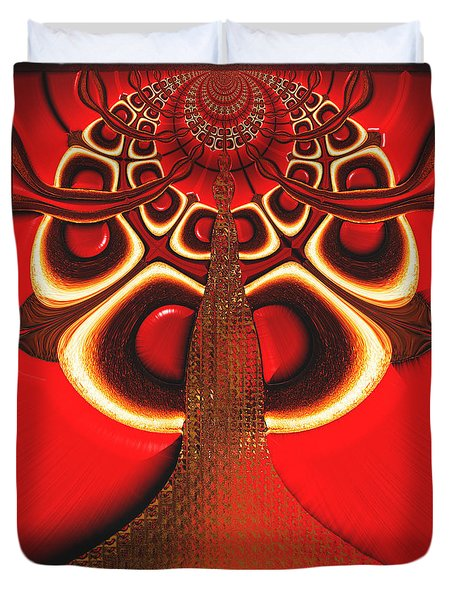 Big Tree From The Red Forest Duvet Cover