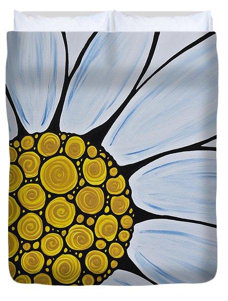 Big White Daisy Duvet Cover by Sharon Cummings