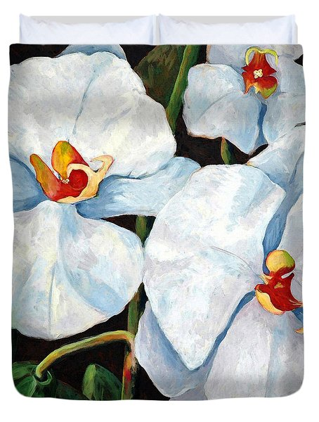 Big White Orchids - Floral Art By Betty Cummings Duvet Cover by Sharon Cummings