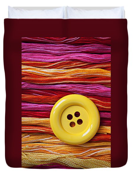 Big Yellow Button  Duvet Cover by Garry Gay