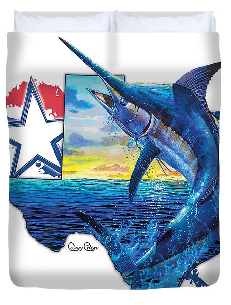 Bigger In Texas Duvet Cover by Carey Chen