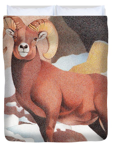 Bighorn Sheep Winter Duvet Cover