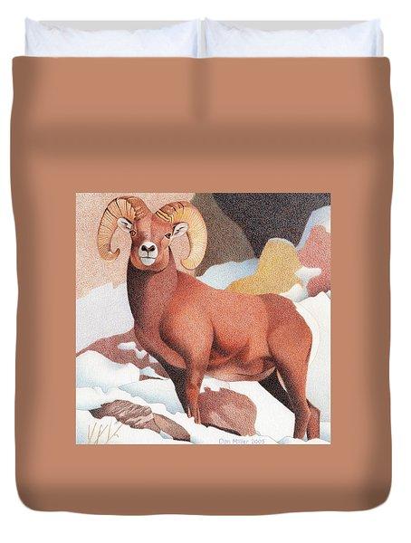 Bighorn Sheep Winter Duvet Cover