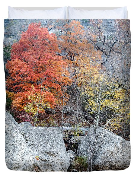 Bigtooth Maple And Rocks Fall Foliage Lost Maples Texas Hill Country Duvet Cover by Silvio Ligutti