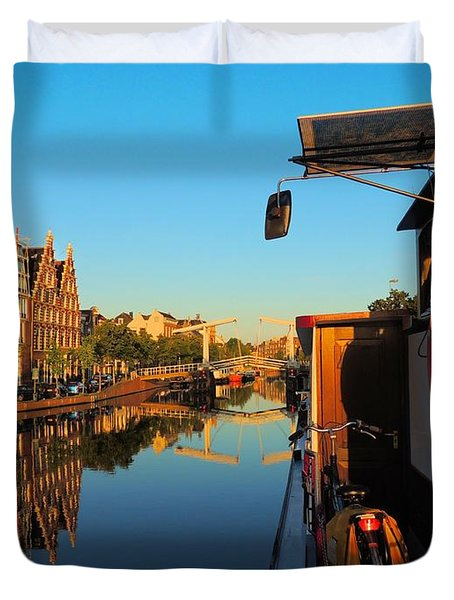 Bike And Barge Duvet Cover by Laura Ragland