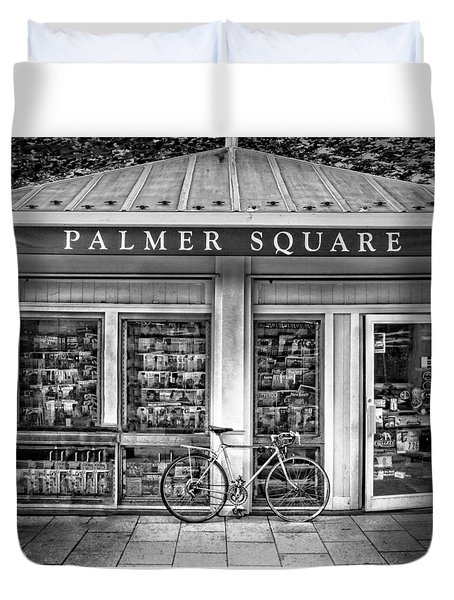 Bike At Palmer Square Book Store In Princeton Duvet Cover