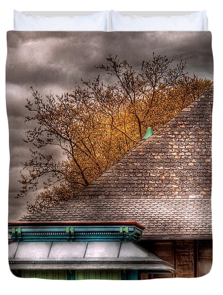 Bike - At The Train Station Duvet Cover by Mike Savad