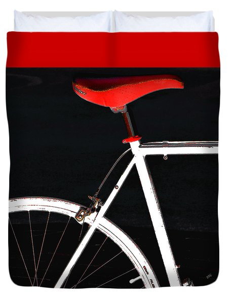 Bike In Black White And Red No 1 Duvet Cover