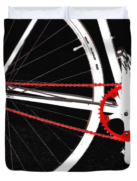 Bike In Black White And Red No 2 Duvet Cover