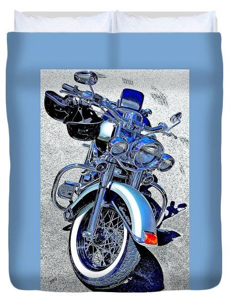 Bike In Blue For Two Duvet Cover by Ben and Raisa Gertsberg