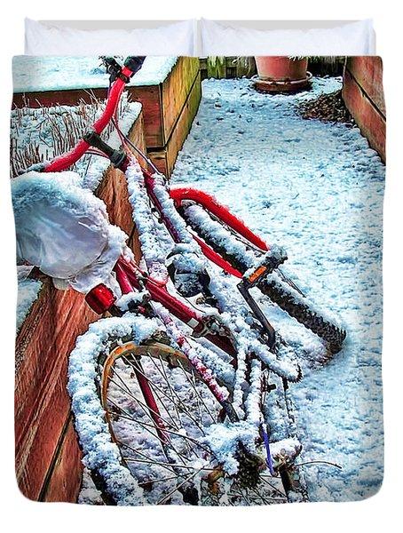 Bike In Winter Duvet Cover by Joan  Minchak