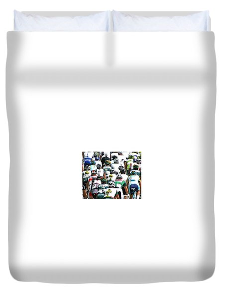 Duvet Cover featuring the photograph Bike Race Image by Christopher McKenzie