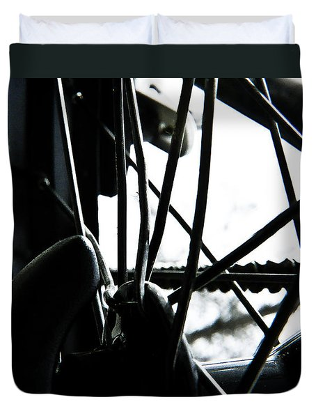 Bike Wheel Duvet Cover by Joel Loftus