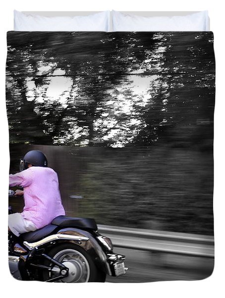 Duvet Cover featuring the photograph Biker by Gandz Photography