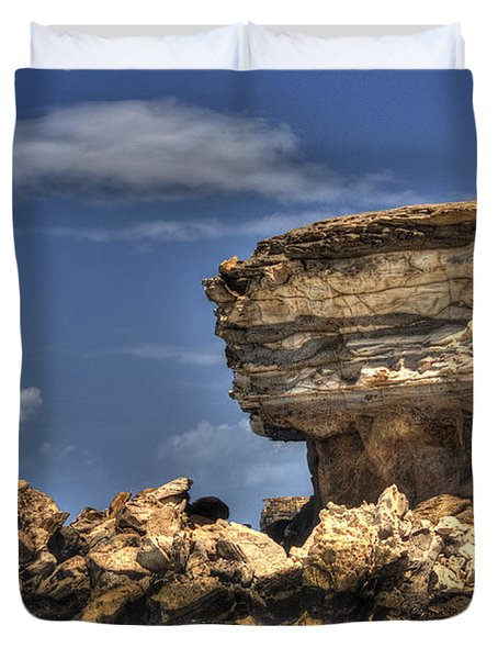 Duvet Cover featuring the photograph Biker On The Rocky Cliff At La Pared by Julis Simo