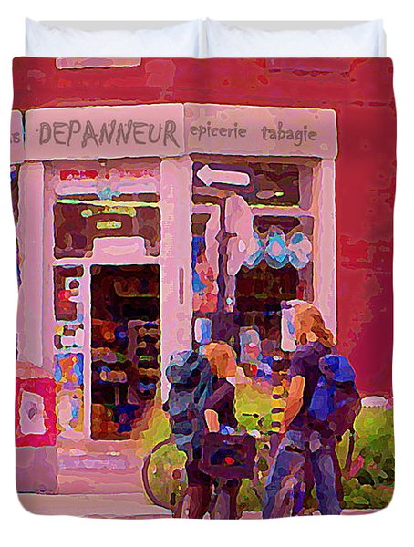 Bikes Backpacks And Cold Beer At The Local Corner Depanneur Montreal Summer City Scene  Duvet Cover by Carole Spandau