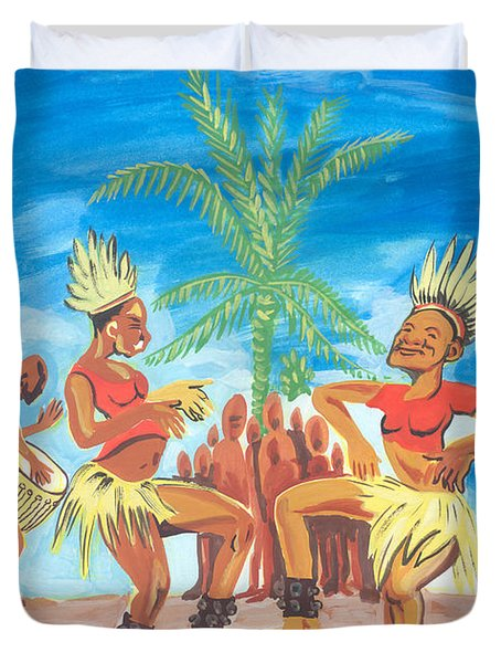 Duvet Cover featuring the painting Bikutsi Dance 3 From Cameroon by Emmanuel Baliyanga